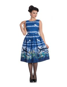 Hell Bunny Montana 50s Style Deer Stag Blue Dress