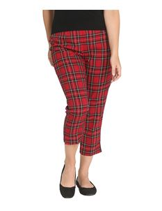 Hell Bunny Irvine Cigarette Trousers 50s Red Tartan