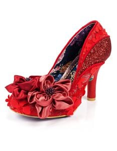 Irregular Choice Peach Melba Red Flower Heel Shoes