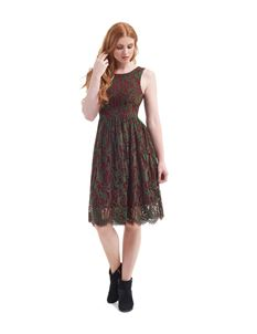 Collectif Burgundy And Green Lace Sleeveless Dress