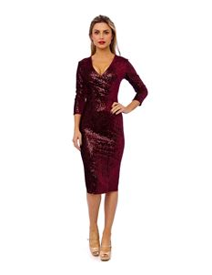 Bettie Vintage 50's Mori Sequin Pencil Wine Dress