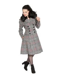 Hell Bunny Pascale Vintage Check Houndstooth Coat