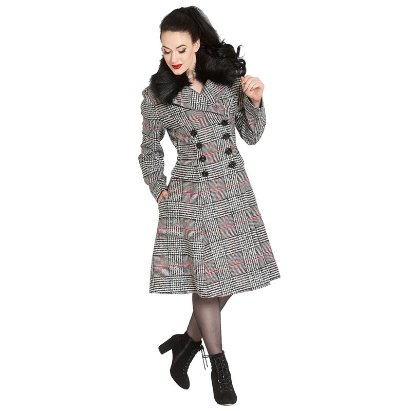 Hell Bunny Pascale Vintage Check Faux Fur Collar Coat