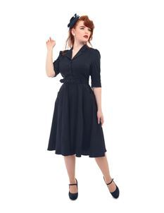 Collectif 1940s WWII Navy Blue Alexandria Flared Dress