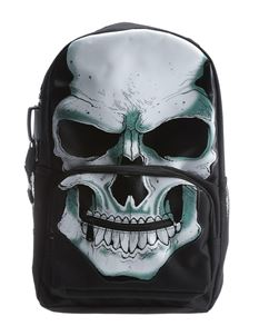 Poisoned Unisex White Skull Textile Backpack Rucksack