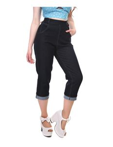 Collectif 50s Style Coco Navy Blue Denim Capris Jeans