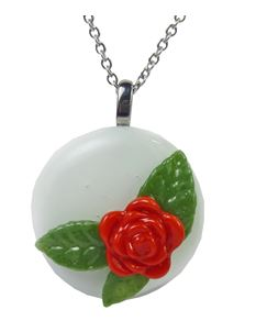 Rowanberry Designs Red & White Rose Glass Pendant
