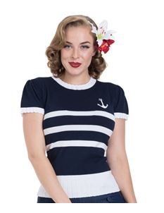 Voodoo Vixen Navy White Striped Nautical Anchor Jumper