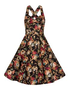 Bettie Vintage Black Halterneck Mix Floral Flared Dress