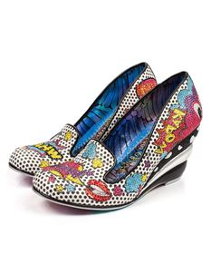 Irregular Choice Wow Pow Wedge Shoes In White & Black