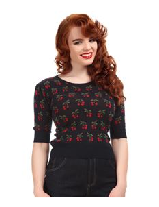 Collectif Chrissie Cherry Print Quarter Sleeve Jumper