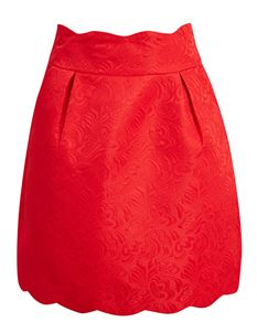 Joanie Clothing Suzy Scallop Red Mini Skirt