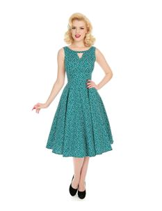 4a3916a236 Hearts   Roses La Rosa Dotty Spotted Green 50s Dress