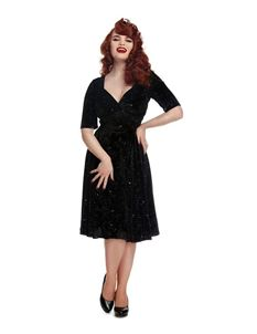 Collectif 40s 50s Trixie Black Silver Star Velvet Dress