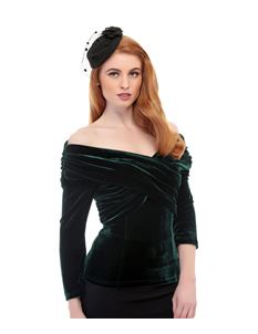 Collectif Celina Green 50s Style Velvet Evening Top