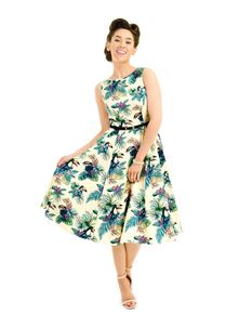 Lady Vintage 50s Style Hepburn Sunshine Toucan Dress