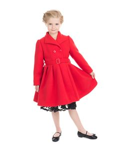 H&R London Kids 50's Red Vintage Swing Coat