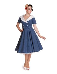 Hell Bunny Claudia 50's Blue Polka Dot Dress