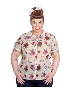 Hell Bunny Leah Chiffon Blouse Cream With Roses
