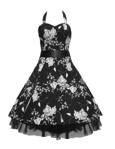 SALE H&R London 50's Floral Dress Black & White UK 8 & 10