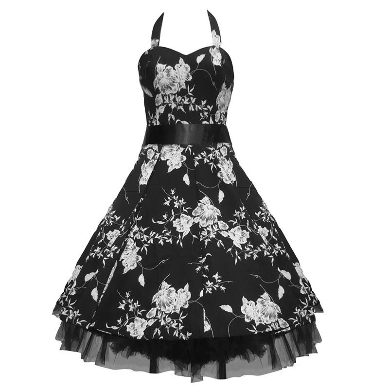 H&R London 50's Floral Dress Black & White