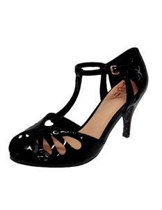 Dancing Days-Banned 50s Plain Black Secret Love Sandals