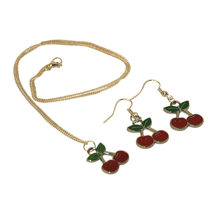 Gas Axe Inc Cherry Necklace and Earring Set mKVmSEzR8