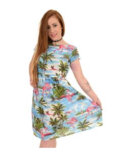 Run & Fly Flamingo Hawaiian Dress