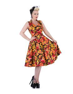 Hearts & Roses Marigold 50s Floral Tea Swing Dress