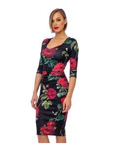 Bettie Vintage Rosy Wiggle Dress