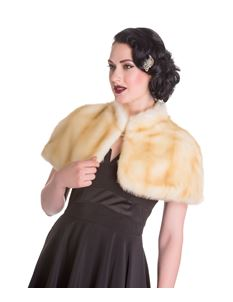 Hell Bunny 40s 50s Vintage Style Faux Fur Blonde Aria Evening Cape