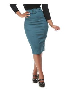 Collectif 50s Style Kayleigh Blue Pencil Skirt