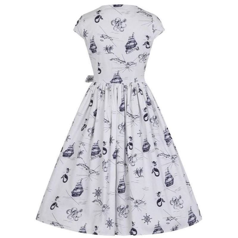 Collectif Joice White and Navy Swing Dress
