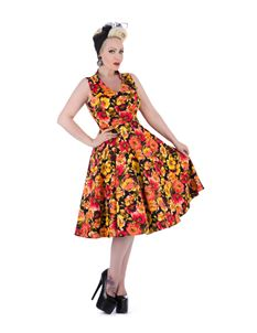 Hearts & Roses 50s Yellow Marigold Vintage Tea Dress