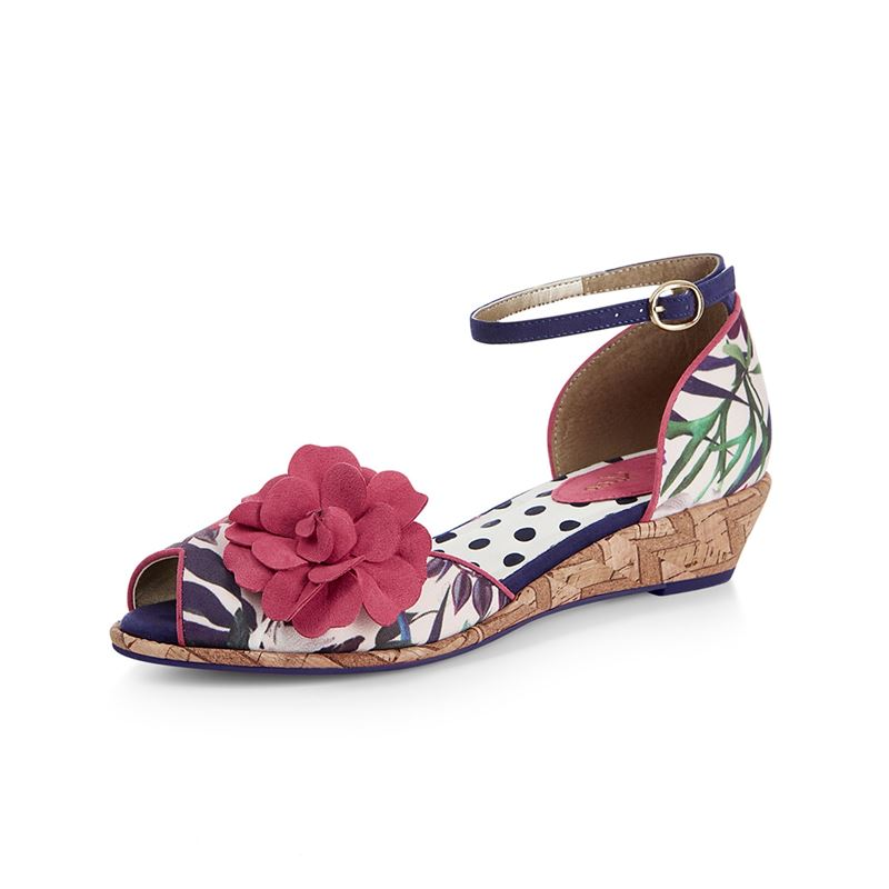 Ruby Shoo Phyllis Summer Cork Wedge Sandals Shoes