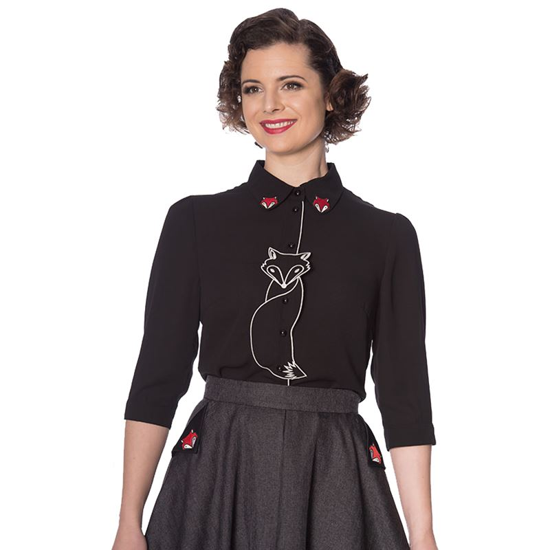 Banned Retro Foxy Fox Vintage Style Blouse Shirt