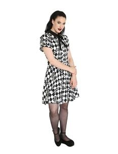 Hell Bunny Hauntley Roses Bats Harlequin Mini Dress