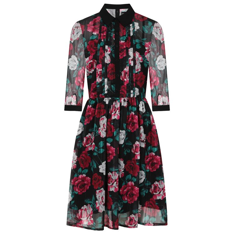 Hell Bunny Bed Of Roses Vintage Style Floral Dress
