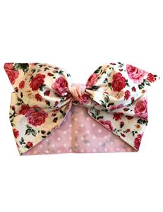 Gas Axe Inc Pink Rose Polka Dot Rockabilly Head Scarf