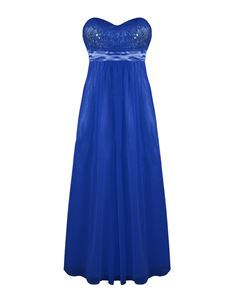 Strapless Chiffon Lace Cocktail Evening Maxi Party Dress Blue