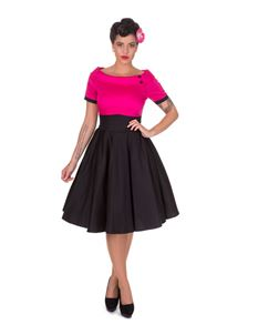 Dolly & Dotty Darlene Hot Pink & Black 50's Swing Dress