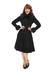 Collectif Faux Fur Collar Black Alice Swing Coat