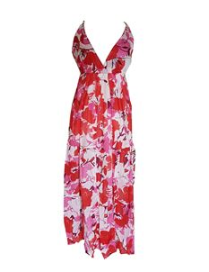 Summer Beach Floral Cotton Blue Red Long Maxi Dress