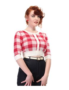 Collectif 50s Style Lucy Red Gingham Check Cardigan