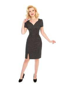 Hearts & Roses 50s Black White Polka Dot Wiggle Dress