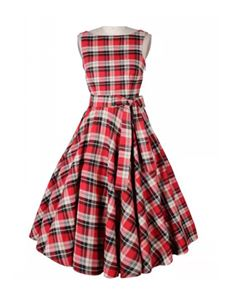 Gas Axe Inc 50's Navy Blue or Red Tartan Full Circle Dress