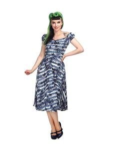 Collectif 50s Dolores Mahiki Nautical Blue Doll Dress