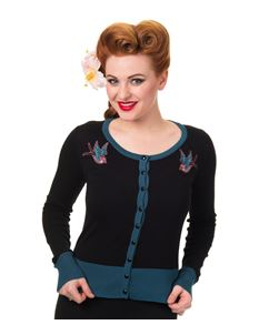 Banned 50s Rockabilly Style Swallows Twisted Cardigan