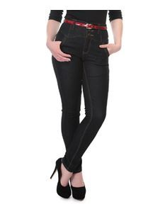 Collectif Rebel Kate Skinny 50s High Waisted Black Denim Jeans
