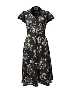 Pretty Retro Black 40s Floral Shimmer Tea Dress